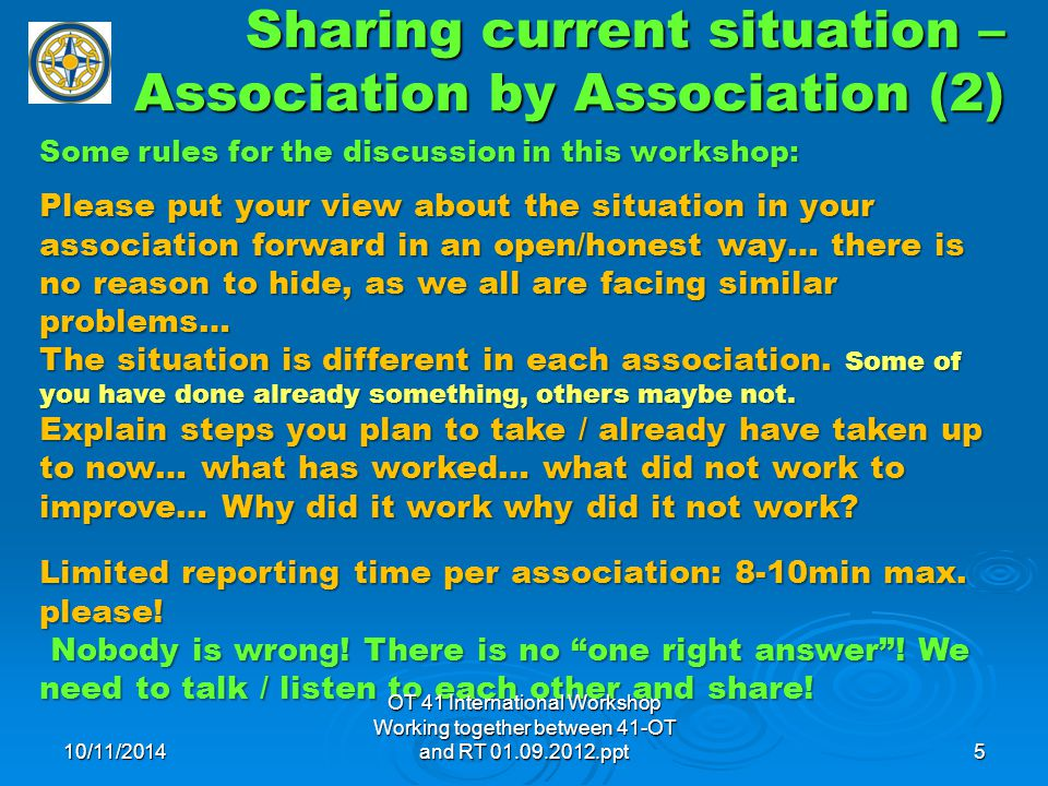 Sharing current situation – Association by Association (2) Some rules for the discussion in this workshop: Please put your view about the situation in your association forward in an open/honest way… there is no reason to hide, as we all are facing similar problems… The situation is different in each association.