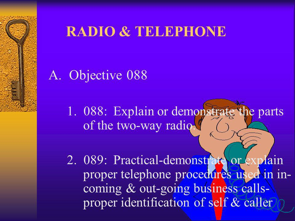 RADIO & TELEPHONE A. Objective 088 1. 088: Explain or demonstrate the parts of the two-way radio.