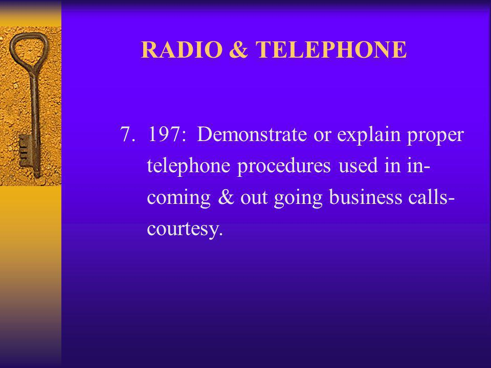 RADIO & TELEPHONE 7.