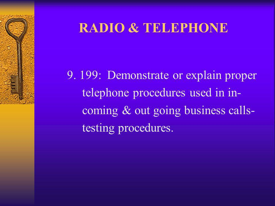 RADIO & TELEPHONE 9.