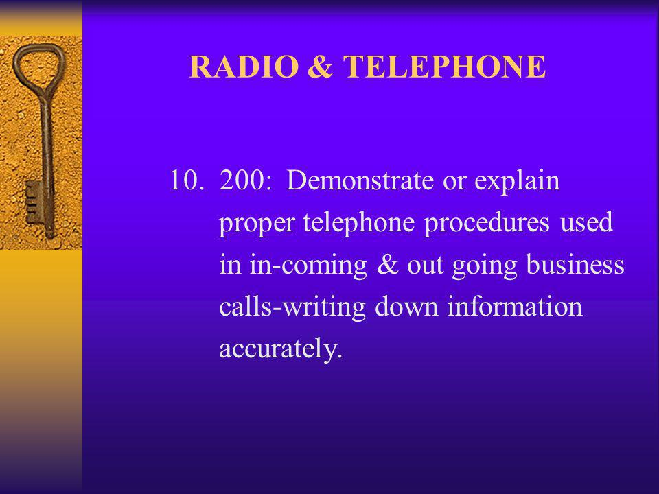RADIO & TELEPHONE 10.