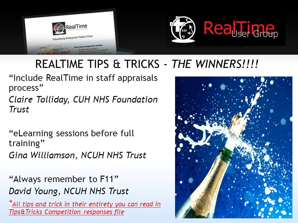 REALTIME TIPS & TRICKS - THE WINNERS!!!.