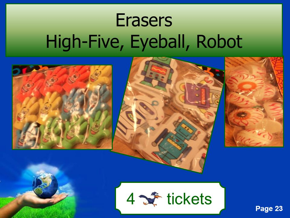 Page 23 4 tickets Erasers High-Five, Eyeball, Robot