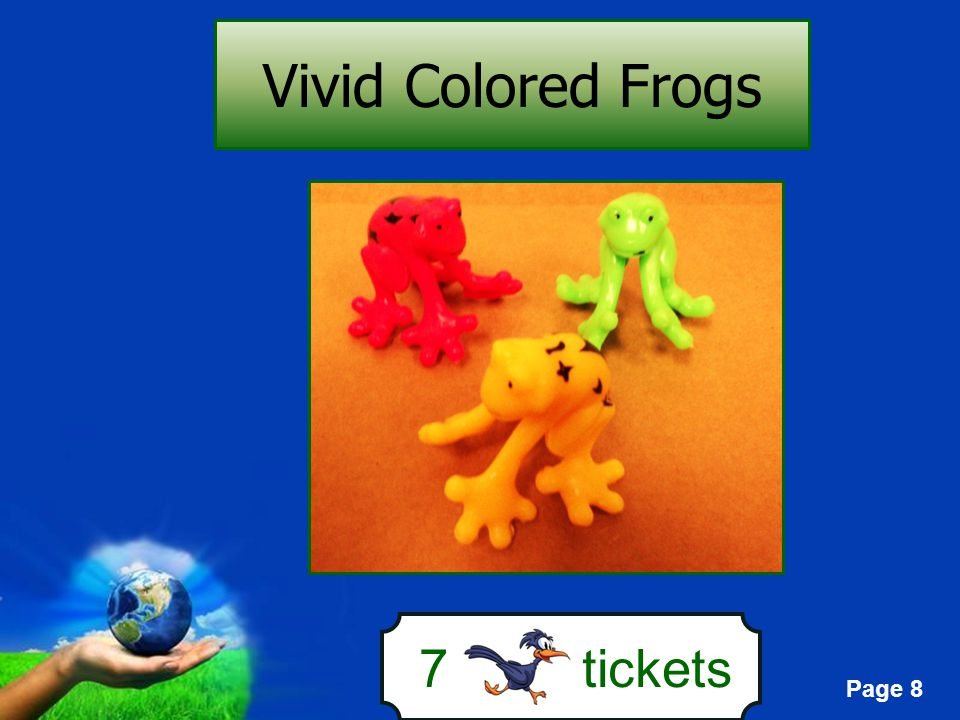 Page 8 7 tickets Vivid Colored Frogs