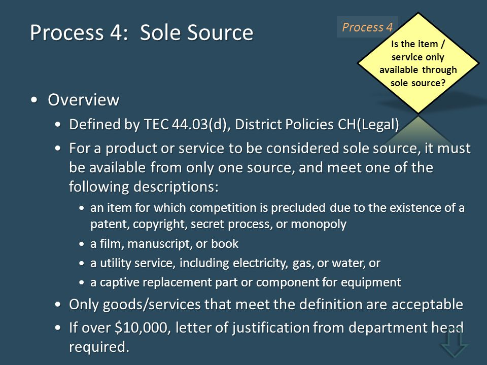 Process 4: Sole Source OverviewOverview Defined by TEC 44.03(d), District Policies CH(Legal)Defined by TEC 44.03(d), District Policies CH(Legal) For a product or service to be considered sole source, it must be available from only one source, and meet one of the following descriptions:For a product or service to be considered sole source, it must be available from only one source, and meet one of the following descriptions: an item for which competition is precluded due to the existence of a patent, copyright, secret process, or monopolyan item for which competition is precluded due to the existence of a patent, copyright, secret process, or monopoly a film, manuscript, or booka film, manuscript, or book a utility service, including electricity, gas, or water, ora utility service, including electricity, gas, or water, or a captive replacement part or component for equipmenta captive replacement part or component for equipment Only goods/services that meet the definition are acceptableOnly goods/services that meet the definition are acceptable If over $10,000, letter of justification from department head required.If over $10,000, letter of justification from department head required.