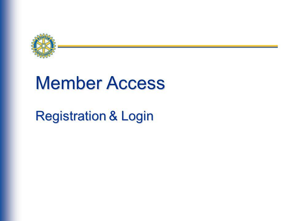 Member Access Registration & Login