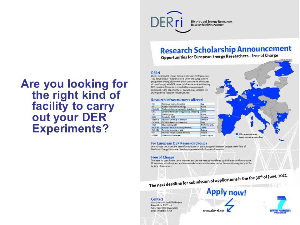 Are you looking for the right kind of facility to carry out your DER Experiments?