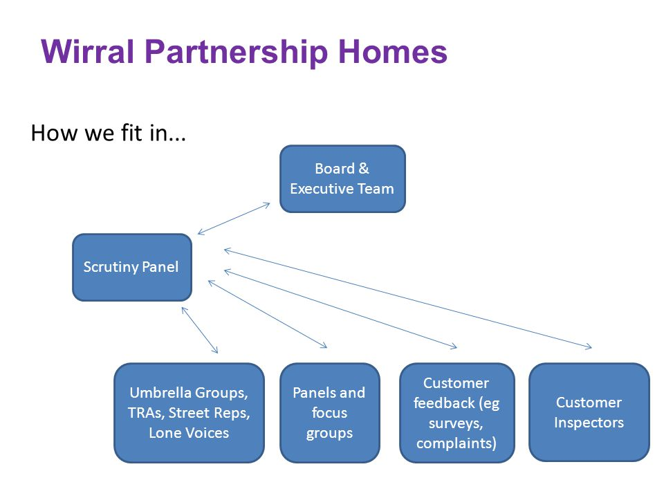 How we fit in... Wirral Partnership Homes Board & Executive Team Scrutiny Panel Umbrella Groups, TRAs, Street Reps, Lone Voices Panels and focus group