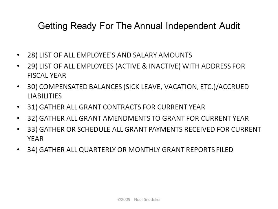 ©2009 - Noel Snedeker Getting Ready For The Annual Independent Audit 28) LIST OF ALL EMPLOYEE'S AND SALARY AMOUNTS 29) LIST OF ALL EMPLOYEES (ACTIVE &