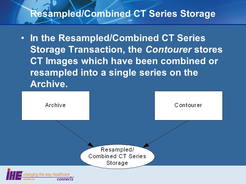 Resampled/Combined CT Series Storage In the Resampled/Combined CT Series Storage Transaction, the Contourer stores CT Images which have been combined or resampled into a single series on the Archive.