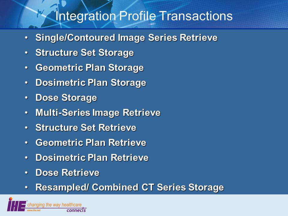 Integration Profile Transactions Single/Contoured Image Series RetrieveSingle/Contoured Image Series Retrieve Structure Set StorageStructure Set Stora