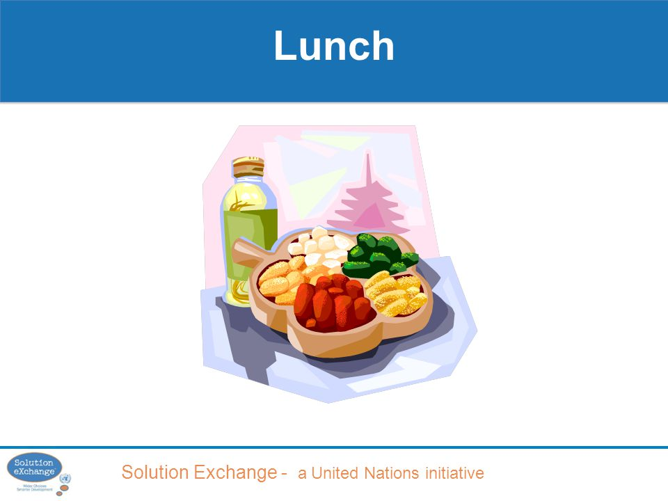 Solution Exchange - a United Nations initiative Lunch