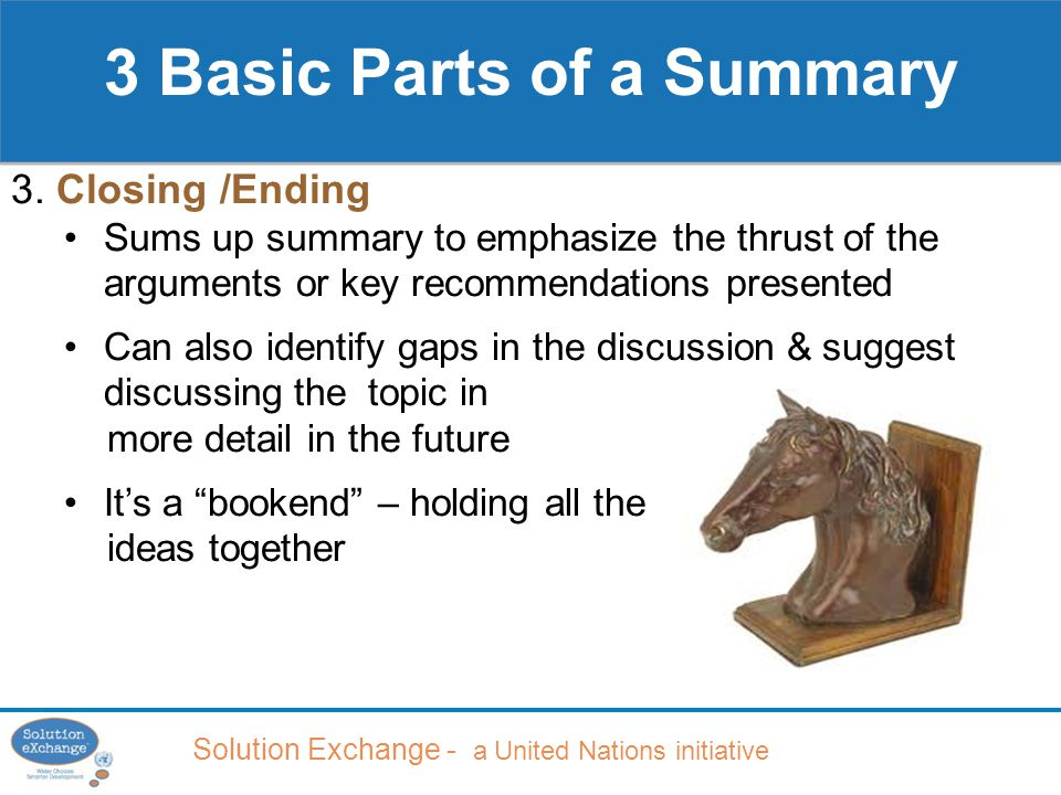 Solution Exchange - a United Nations initiative 3 Basic Parts of a Summary 3.
