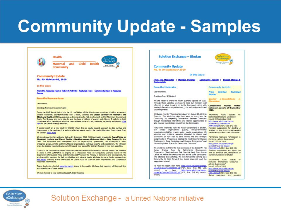 Solution Exchange - a United Nations initiative Community Update - Samples