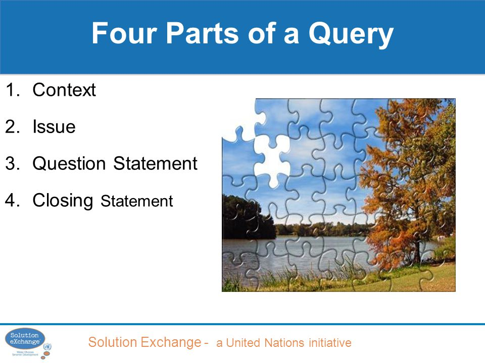 Solution Exchange - a United Nations initiative 1.Context 2.Issue 3.Question Statement 4.Closing Statement Four Parts of a Query
