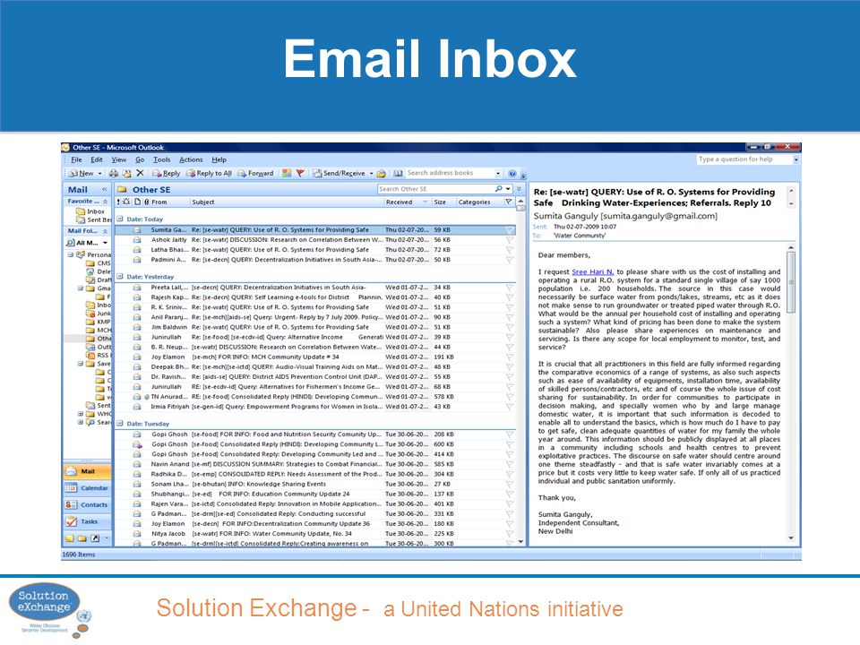 Solution Exchange - a United Nations initiative Email Inbox