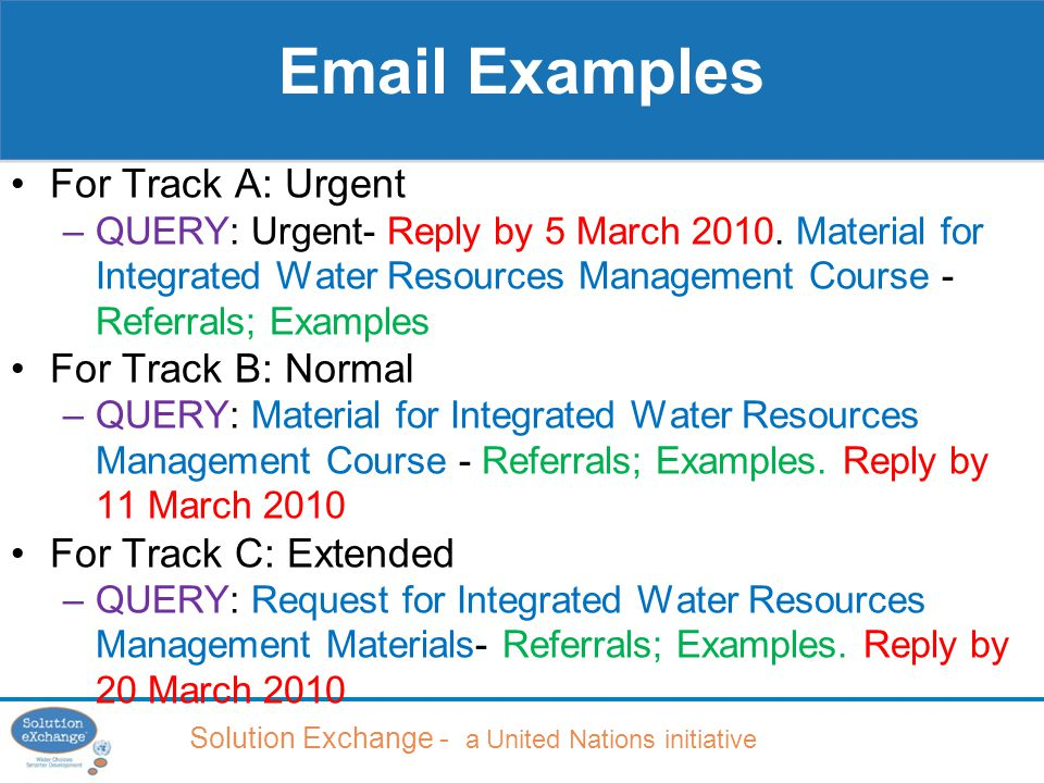 Solution Exchange - a United Nations initiative For Track A: Urgent –QUERY: Urgent- Reply by 5 March 2010.