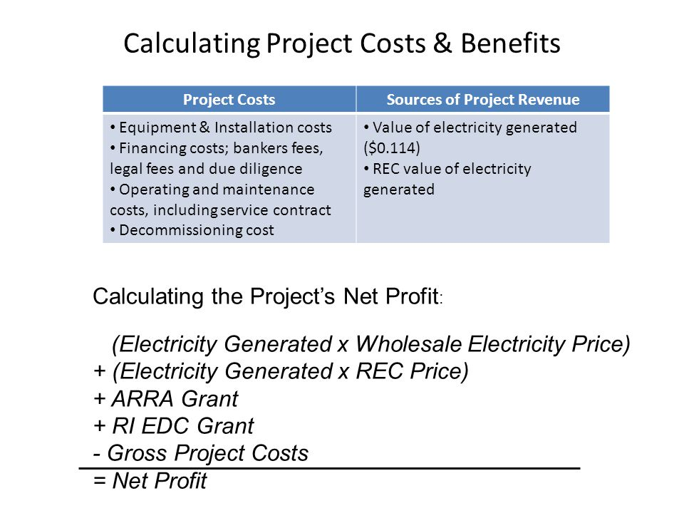 Calculating Project Costs & Benefits Calculating the Project's Net Profit : (Electricity Generated x Wholesale Electricity Price) + (Electricity Gener