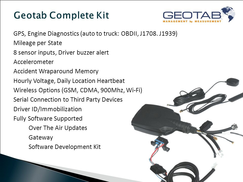 Geotab Complete Kit GPS, Engine Diagnostics (auto to truck: OBDII, J1708.