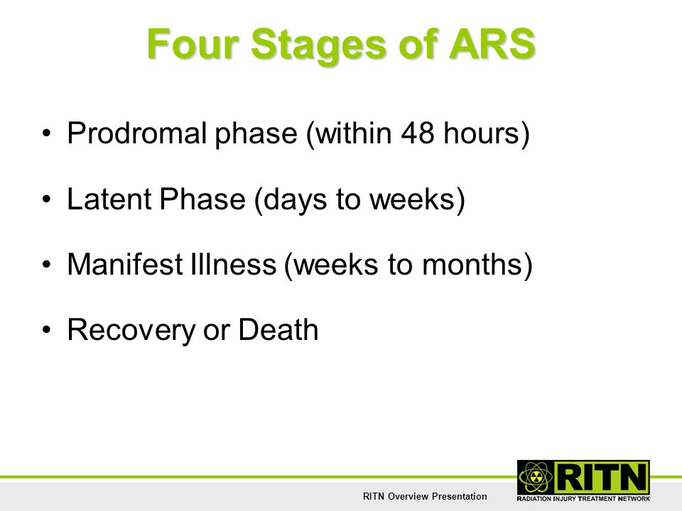 RITN Overview Presentation Four Stages of ARS Prodromal phase (within 48 hours) Latent Phase (days to weeks) Manifest Illness (weeks to months) Recove