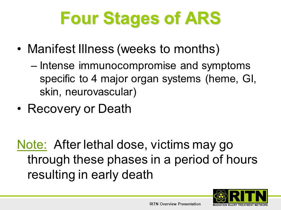 RITN Overview Presentation Four Stages of ARS Manifest Illness (weeks to months) –Intense immunocompromise and symptoms specific to 4 major organ syst