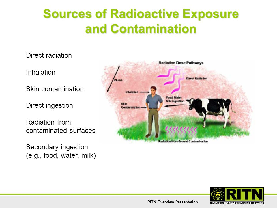 RITN Overview Presentation Sources of Radioactive Exposure and Contamination Direct radiation Inhalation Skin contamination Direct ingestion Radiation