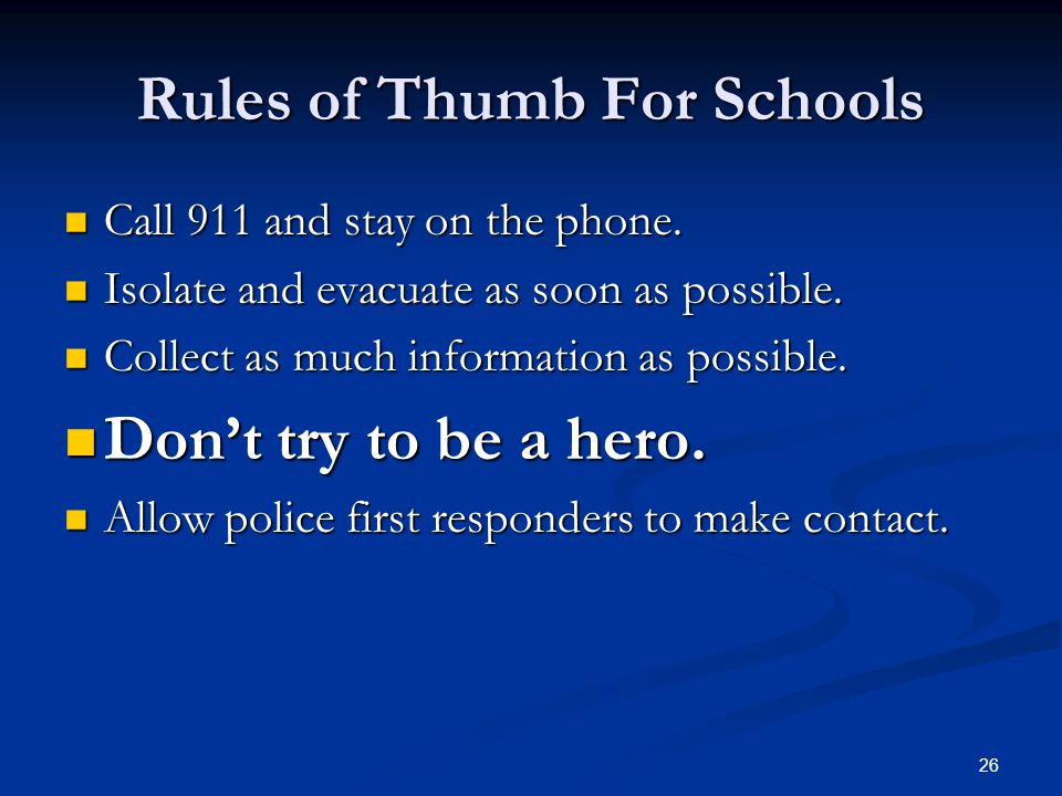 School Lock Down Procedures Signal/code Signal/code Lock Doors Lock Doors Safe Area Safe Area Account for Students Account for Students Do Not Open Do
