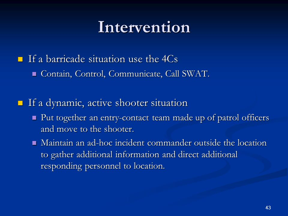 42 Ad-hoc Incident Commander Responsibilities. Responsibilities. Collect information. Collect information. Direct responding units to a staging area.