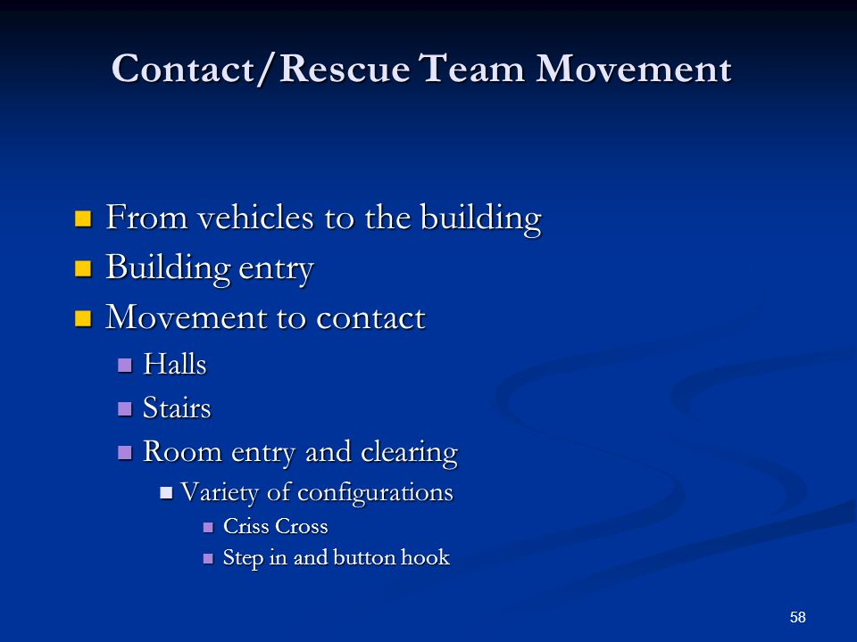 57 Contact Team Movement Video Clips Patrol officers in contact team formations Video # 3, Scenes 1-22