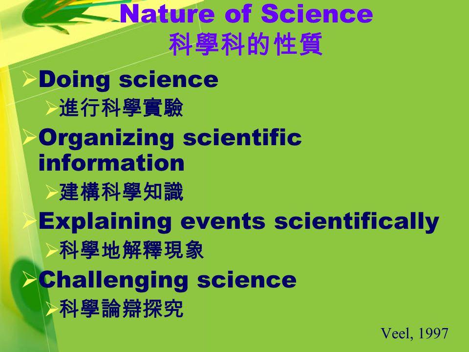 Nature of Science 科學科的性質  Doing science  進行科學實驗  Organizing scientific information  建構科學知識  Explaining events scientifically  科學地解釋現象  Challenging science  科學論辯探究 Veel, 1997