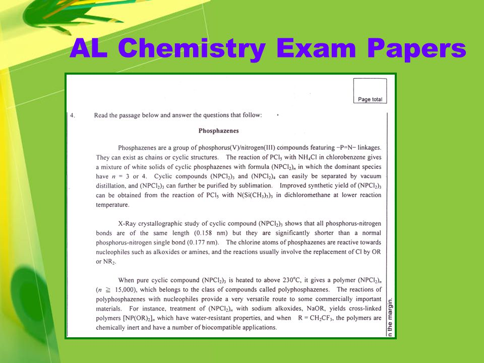 AL Chemistry Exam Papers