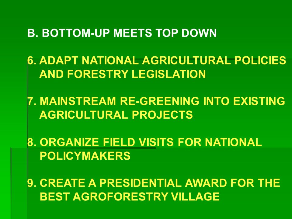 B. BOTTOM-UP MEETS TOP DOWN 6. ADAPT NATIONAL AGRICULTURAL POLICIES AND FORESTRY LEGISLATION 7.