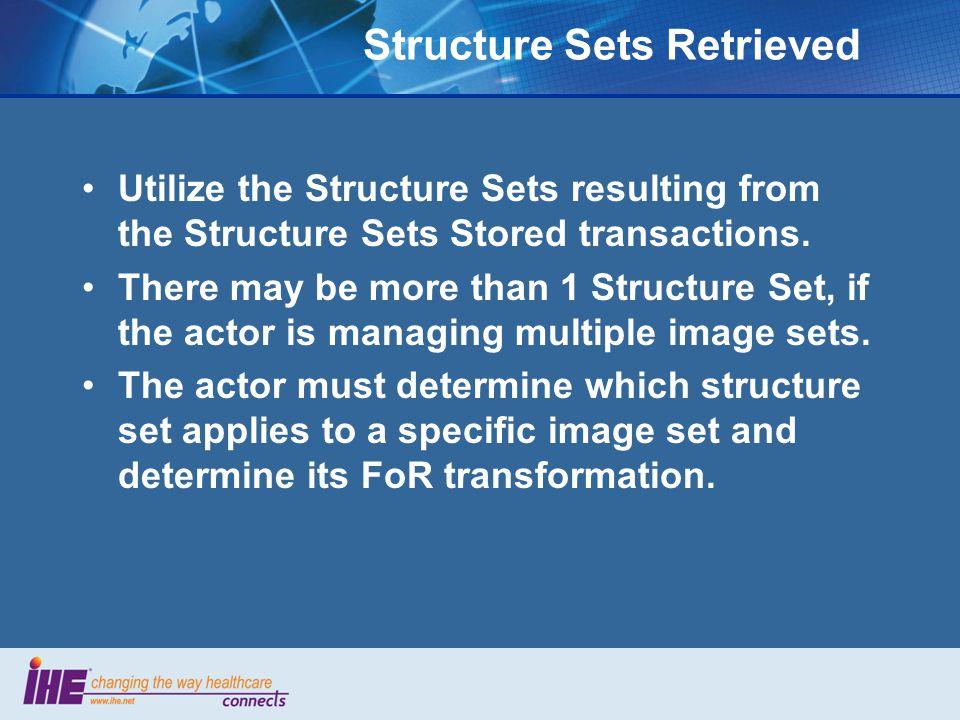 Structure Sets Retrieved Utilize the Structure Sets resulting from the Structure Sets Stored transactions.