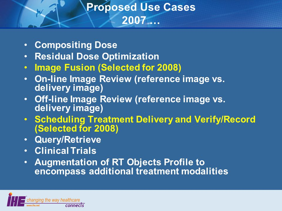 Proposed Use Cases 2007 … Compositing Dose Residual Dose Optimization Image Fusion (Selected for 2008) On-line Image Review (reference image vs.