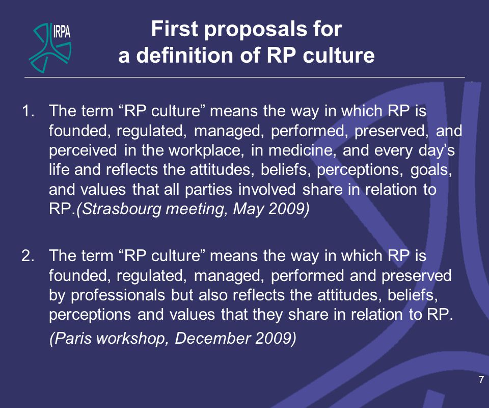 First proposals for a definition of RP culture 1.