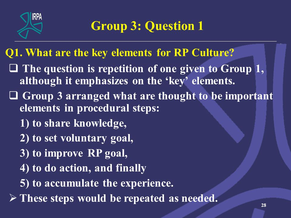 Group 3: Question 1 Q1. What are the key elements for RP Culture.