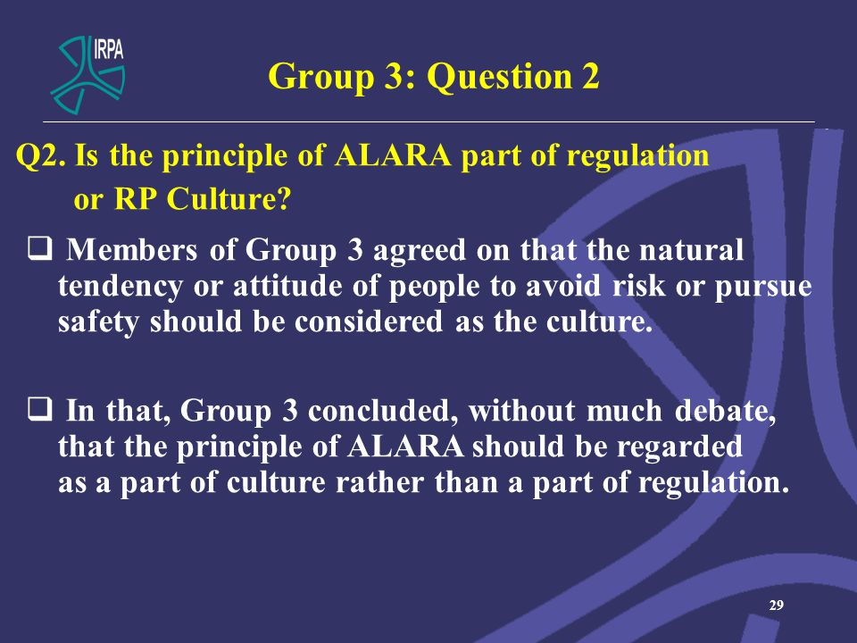 Group 3: Question 2 Q2. Is the principle of ALARA part of regulation or RP Culture.