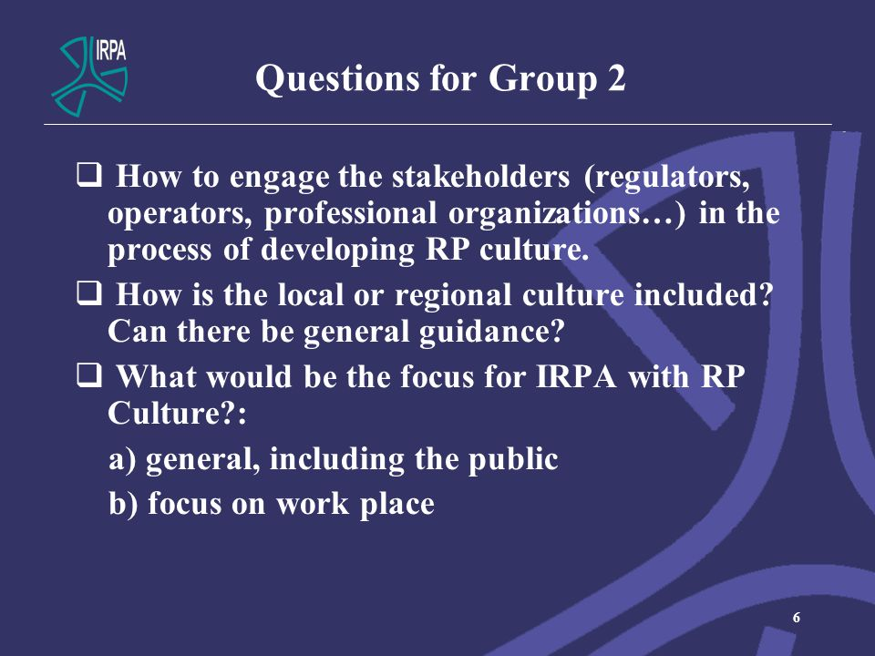 Questions for Group 3  What are the key elements for RP Culture.