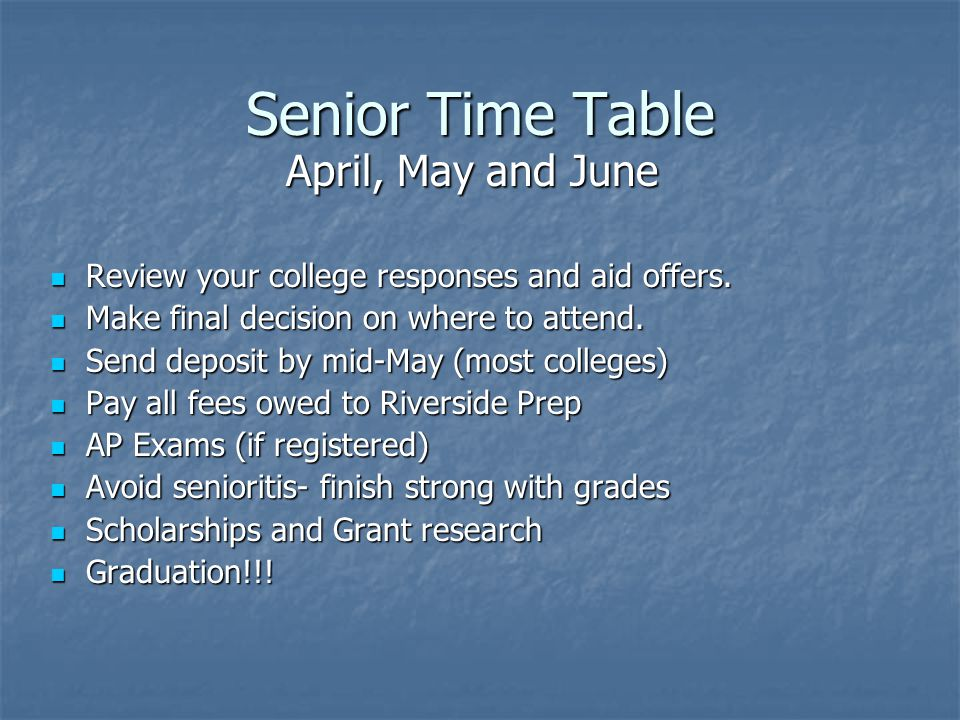 Senior Time Table April, May and June Review your college responses and aid offers.
