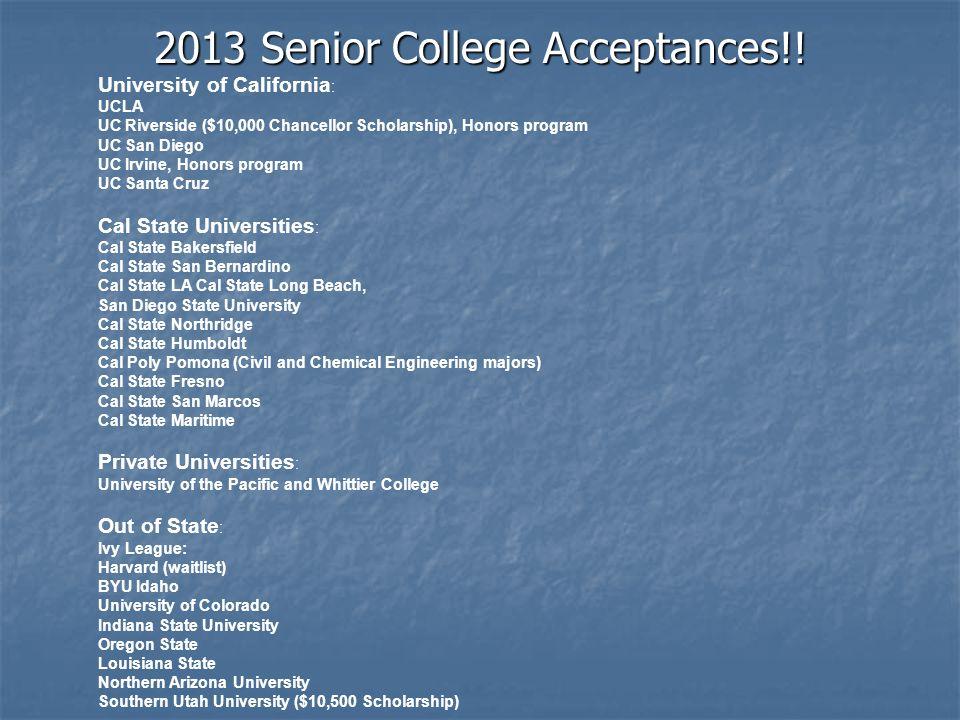 2013 Senior College Acceptances!.