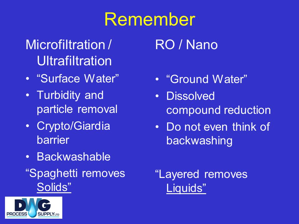 Remember Microfiltration / Ultrafiltration Surface Water Turbidity and particle removal Crypto/Giardia barrier Backwashable Spaghetti removes Solids RO / Nano Ground Water Dissolved compound reduction Do not even think of backwashing Layered removes Liquids