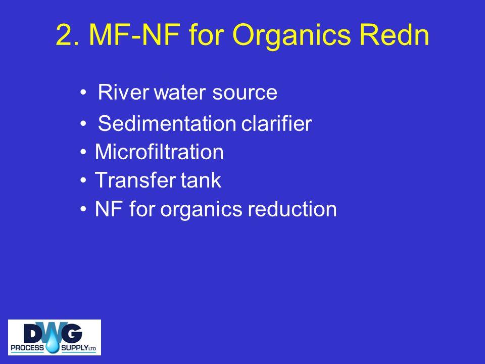 2. MF-NF for Organics Redn River water source Sedimentation clarifier Microfiltration Transfer tank NF for organics reduction