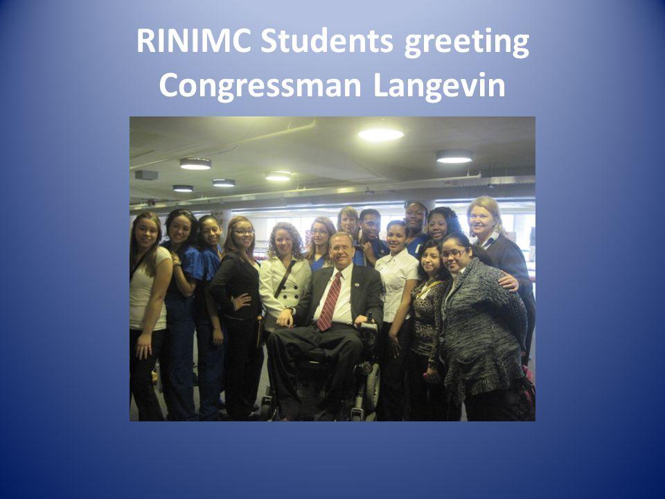 RINIMC Students greeting Congressman Langevin