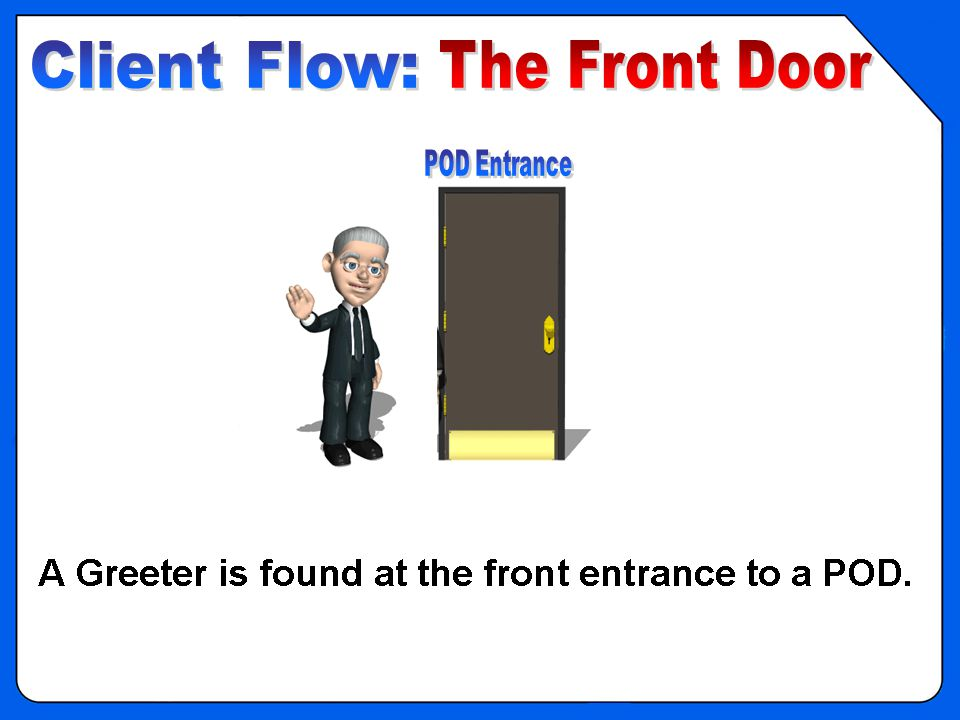OVERVIEW - POD Clinic Flow – Front Door 1