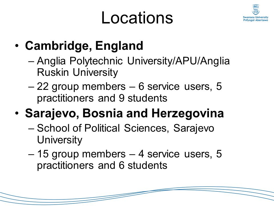 Locations Cambridge, England –Anglia Polytechnic University/APU/Anglia Ruskin University –22 group members – 6 service users, 5 practitioners and 9 st
