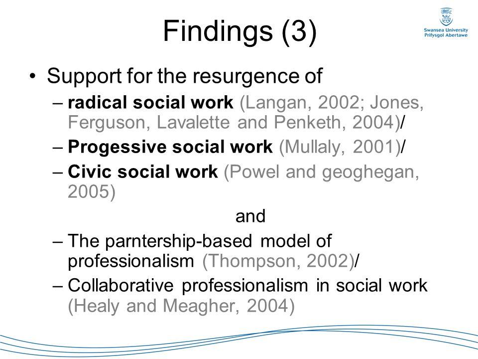 Findings (3) Support for the resurgence of –radical social work (Langan, 2002; Jones, Ferguson, Lavalette and Penketh, 2004)/ –Progessive social work