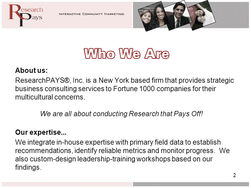 About us: ResearchPAYS®, Inc.