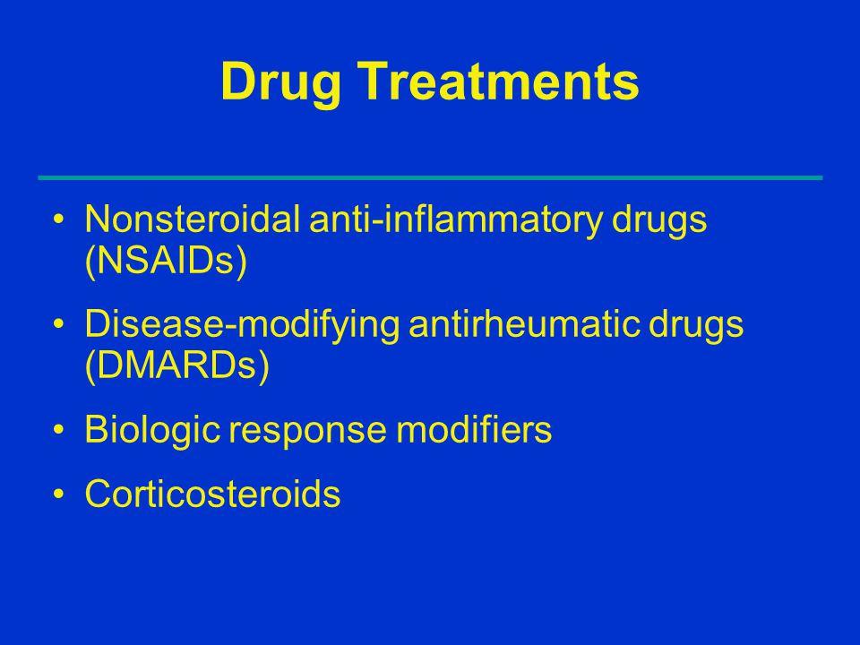 Drug Treatments Nonsteroidal anti-inflammatory drugs (NSAIDs) Disease-modifying antirheumatic drugs (DMARDs) Biologic response modifiers Corticosteroids