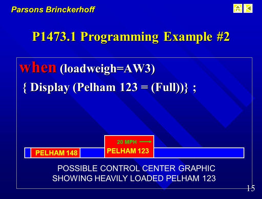 Parsons Brinckerhoff 14 P1473.1 Programming Example #1 when (doors = (open)) { brakes = ON } ; equivalent function equivalent function DOOR SENSOR BRAKE SYSTEM B+