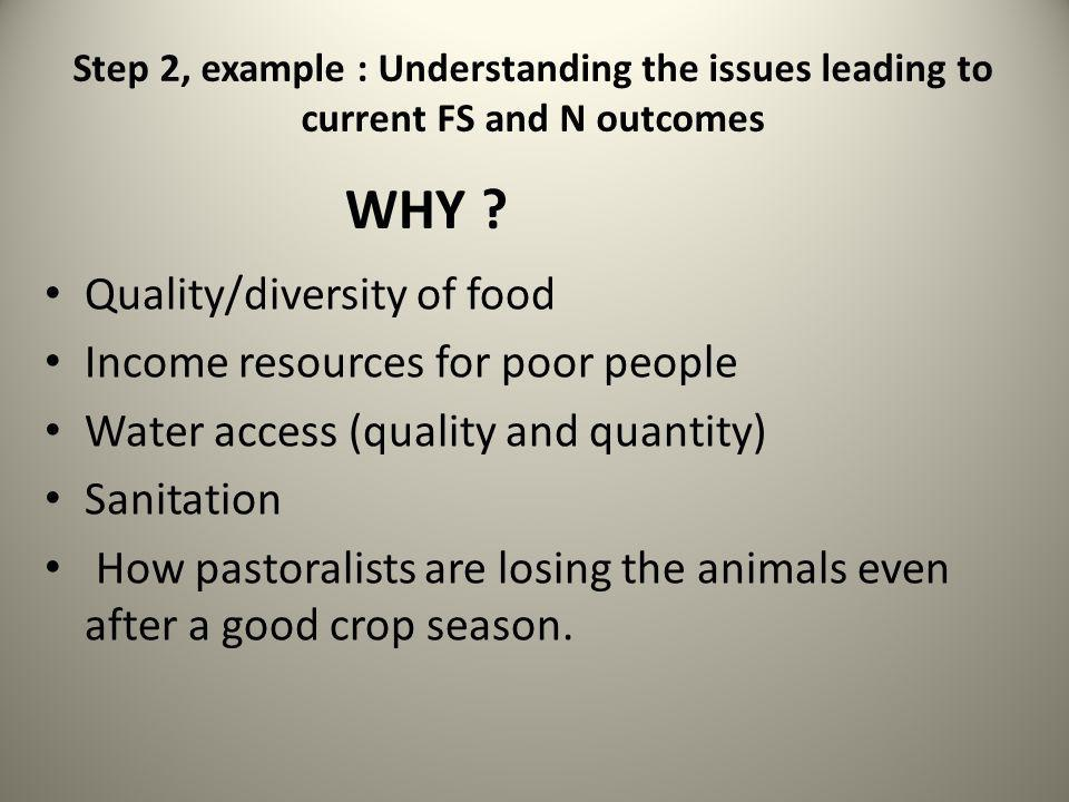 Quality/diversity of food Income resources for poor people Water access (quality and quantity) Sanitation How pastoralists are losing the animals even after a good crop season.